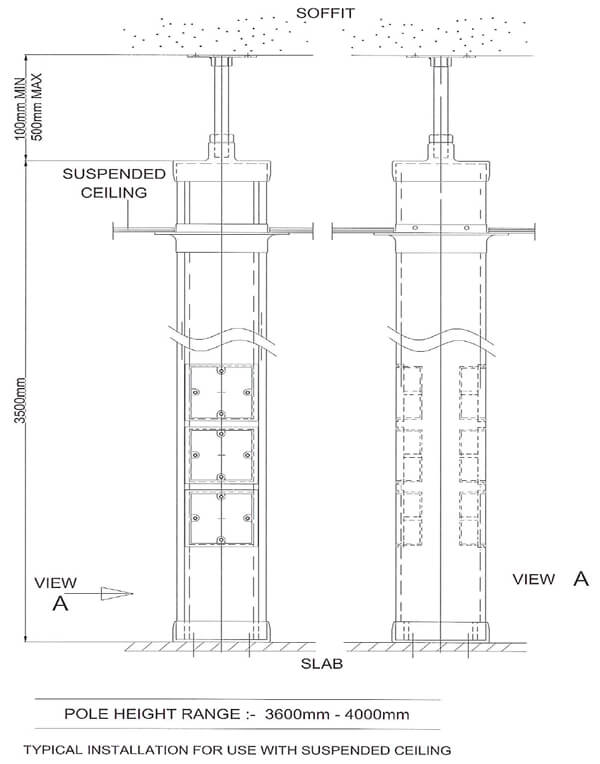 Power Pole blueprints for cable management systems at Falcon Trunking Systems.